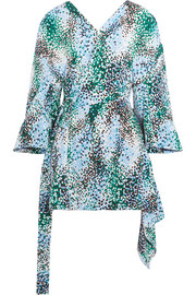 Marni Draped printed silk crepe de chine wrap top
