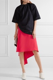 Marni Asymmetric draped twill wrap skirt