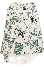 Marni Asymmetric printed cotton-blend twill skirt