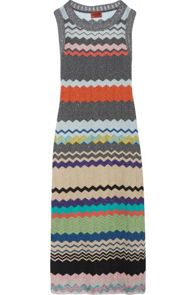 Missoni - Metallic Crochet-knit Midi Dress - Silver