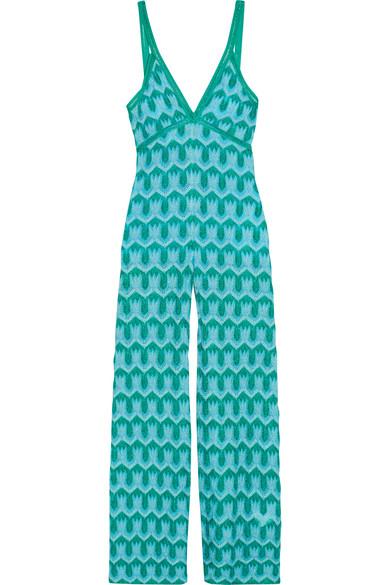 Missoni - Metallic Crochet-knit Jumpsuit - Blue