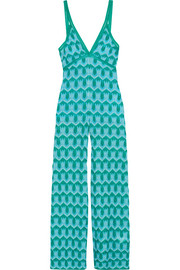 Metallic crochet-knit jumpsuit