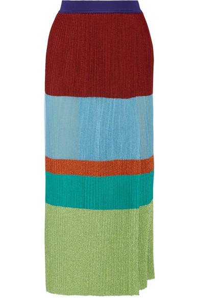 Missoni - Wrap-effect Pleated Metallic Stretch-knit Maxi Skirt - Sky blue