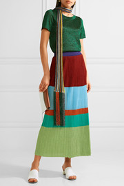 Missoni Wrap-effect pleated metallic stretch-knit maxi skirt