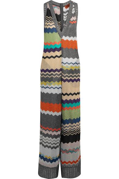 Missoni - Metallic Crochet-knit Jumpsuit - Silver