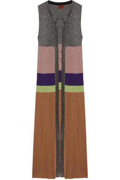 Missoni - Striped Metallic Ribbed-knit Cardigan - Silver