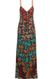 Embroidered crochet-knit maxi dress
