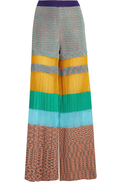 Missoni - Pleated Striped Crochet-knit Wide-leg Pants - Yellow