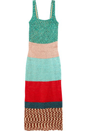 Color-block crochet-knit maxi dress