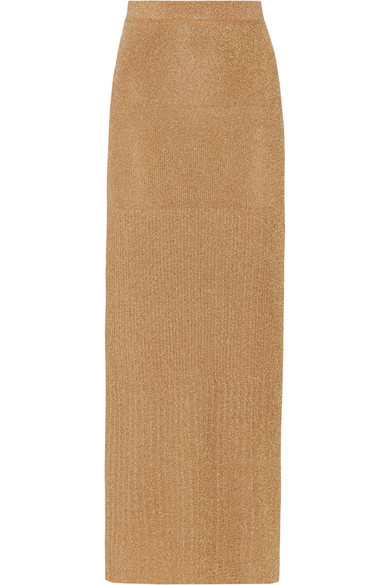 Missoni - Pleated Metallic Knitted Maxi Skirt - Gold