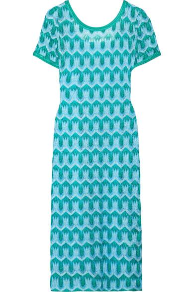 Missoni - Metallic Crochet-knit Midi Dress - Turquoise