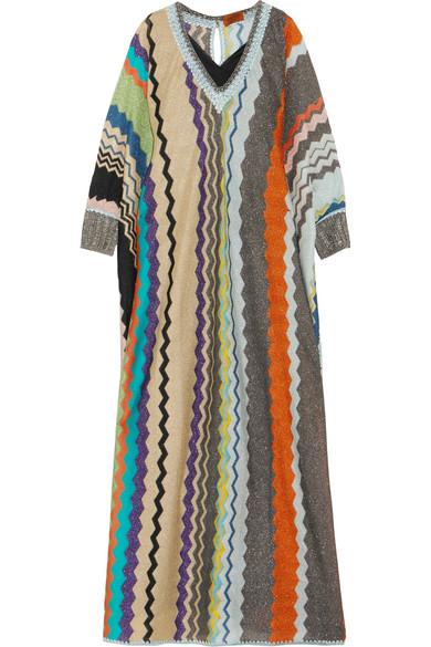 Missoni - Striped Metallic Stretch-knit Kaftan - Beige
