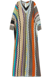 Striped metallic stretch-knit kaftan