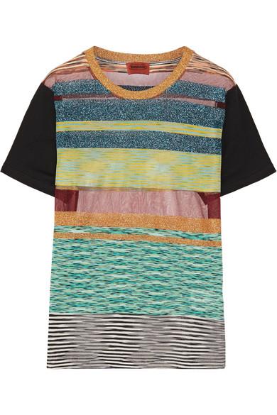 Missoni - Striped Metallic Stretch-knit T-shirt - Turquoise