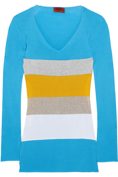 Missoni - Color-block Ribbed Cotton Sweater - Blue