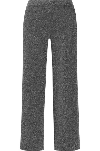 Missoni - Cropped Metallic Knitted Straight-leg Pants - Silver