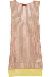 Layered metallic crochet-knit tunic