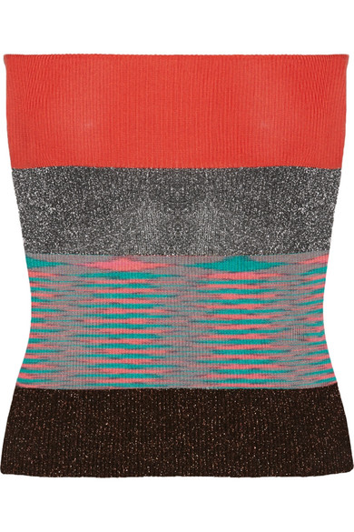 Missoni - Strapless Striped Metallic Ribbed-knit Top - Red