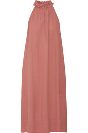 Frayed crepe midi dress