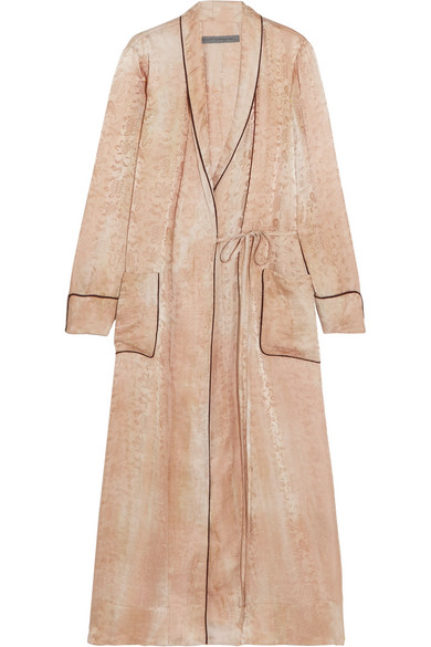 Raquel Allegra - Silk-damask Wrap Dress - Beige