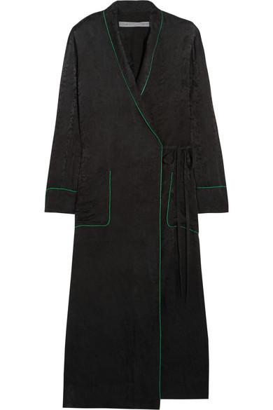 Raquel Allegra - Silk-damask Wrap Dress - Black