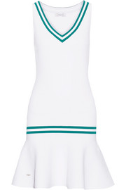 L'Etoile Sport Striped stretch-knit tennis dress