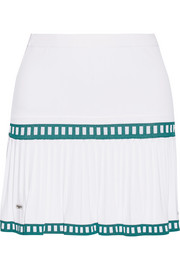 Medea two-tone pleated stretch-knit tennis skirt