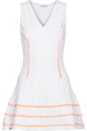 L'Etoile Sport Geo striped textured stretch-knit tennis dress