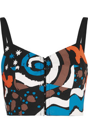 Printed cotton-blend bustier top