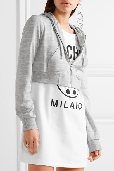 MOSCHINO Hooded Printed Stretch-Cotton And Jersey Mini Dress