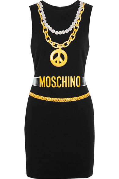 Moschino - Printed Crepe Mini Dress - Black