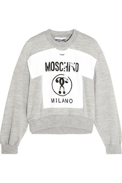 Moschino - Printed Jersey Sweatshirt - Gray