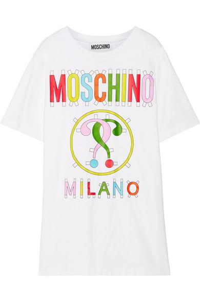 Moschino - Printed Stretch Cotton-blend Jersey Mini Dress - White