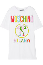 Moschino Printed stretch cotton-blend jersey mini dress