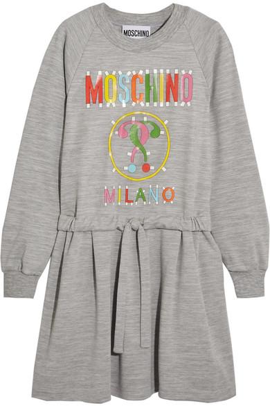 Moschino - Printed Jersey Dress - Gray