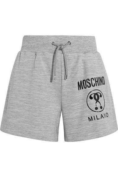 Moschino - Printed Stretch-jersey Shorts - Gray