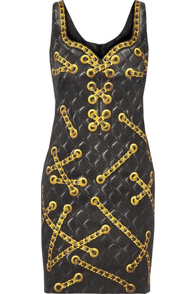 Moschino - Printed Cotton-blend Mini Dress - Black