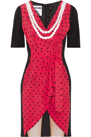 Moschino - Lace-trimmed Printed Silk Crepe De Chine Mini Dress - Red
