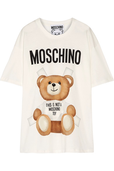 Moschino - Oversized Printed Cotton-jersey T-shirt - Off-white
