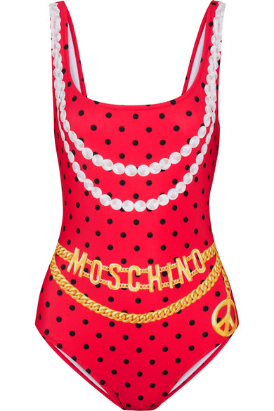 Moschino - Printed Swimsuit - Red
