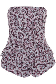 Metallic jacquard bustier top