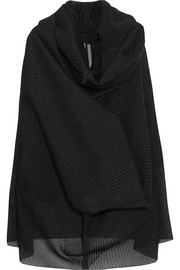 Pelican draped plissé silk-blend and buckram cloth sweater