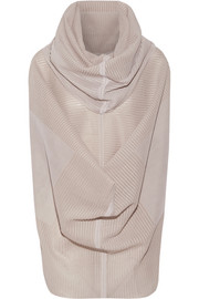 Draped ribbed silk-blend top