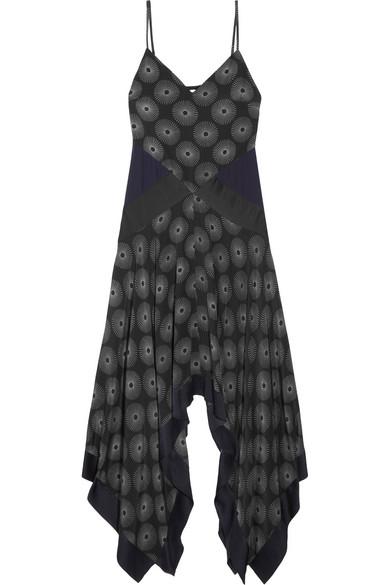 Diane von Furstenberg - Silk Satin-paneled Printed Crepe Midi Dress - Black