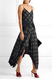 Diane von Furstenberg Silk satin-paneled printed crepe midi dress