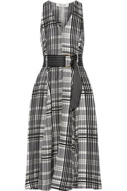 Plaid belted silk-twill midi dress
