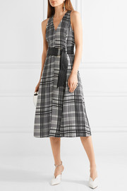 Diane von Furstenberg Plaid belted silk-twill midi dress