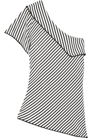 Diane von Furstenberg One-shoulder striped silk top