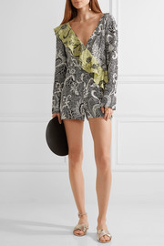 Diane von Furstenberg Ruffled wrap-effect printed silk crepe de chine playsuit