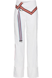 Grosgrain-trimmed stretch linen-blend wide-leg pants
